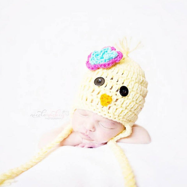 Crochet Baby Bird Hat Beanie Chick Flower/Bow Optional Infant Newborn Baby Photography Photo Prop Handmade Baby Shower Gift - Red Lollipop Boutique