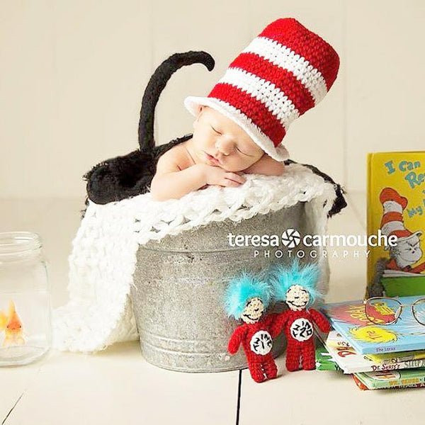 Crochet Thing 1 Thing 2 Hat Bow Tie Dr. Seuss Cat In The Hat Infant Newborn Baby Photography Photo Prop Shower Theme Present Twins