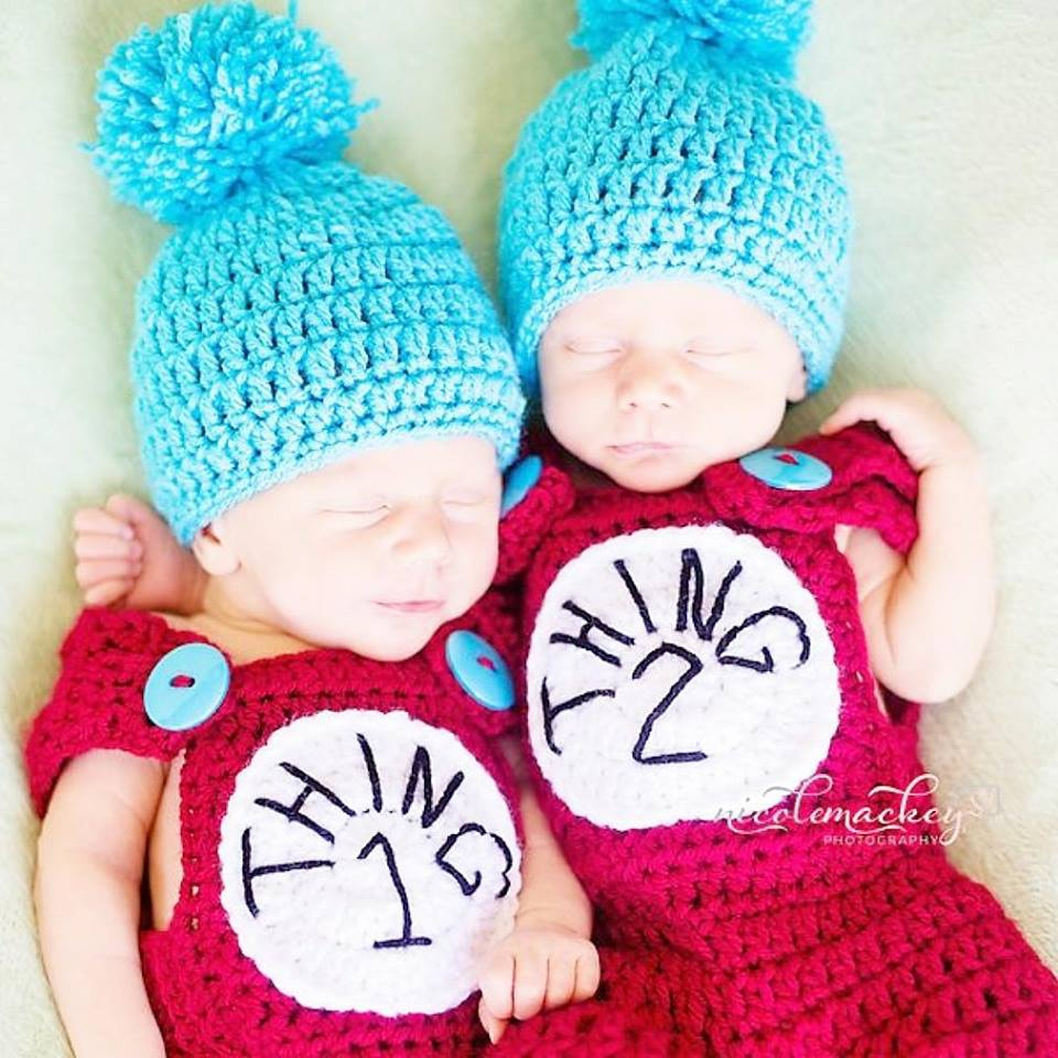Crochet Baby Thing 1 Thing 2 Pants Overalls Hat Beanie Set Dr. Seuss Cat In The Hat Infant Newborn Baby Photography Photo Prop Baby Shower Gift Twins - Red Lollipop Boutique
