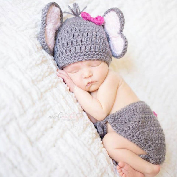 Crochet Baby Elephant Hat Beanie Diaper Cover Set Newborn Infant Handmade Photography Photo Prop Baby Shower Gift - Red Lollipop Boutique