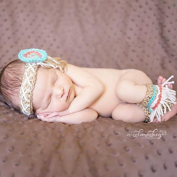 Crochet Baby Indian Native American Hat Hair Braid Headset Anklets Infant Newborn Baby Photography Photo Prop Baby Shower Gift - Red Lollipop Boutique