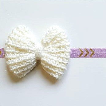 Crochet Big Bow Arrow Headband Hair Accessory Newborn Baby Infant Toddler Child Adult Photography Photo Prop Handmade Baby Shower Gift Present - Red Lollipop Boutique