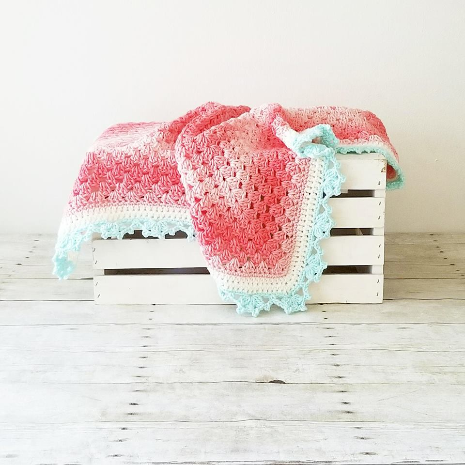 Crochet Baby Ombre Blanket Handmade Nursery Decor Decoration Bedding Infant Newborn Baby Toddler Child Blanket - Red Lollipop Boutique