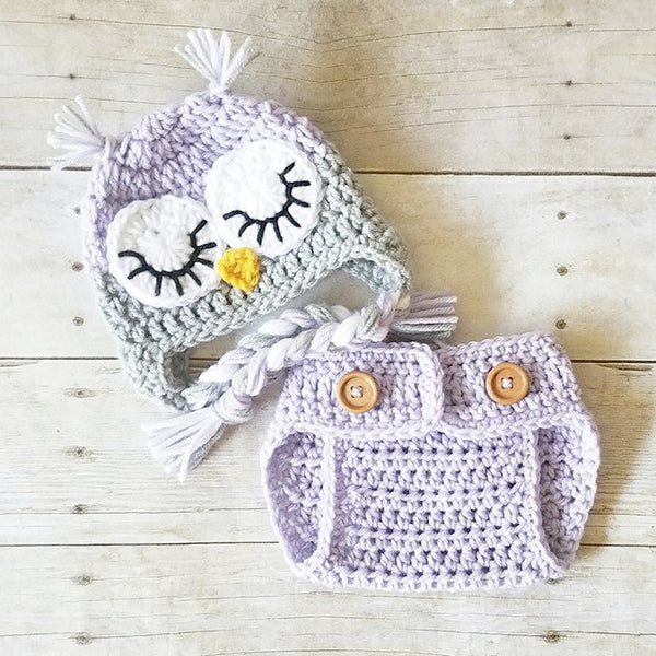 Crochet Baby Owl Hat Beanie Diaper Cover Bloomers Set Animal Newborn Infant Photography Photo Prop Handmade Baby Shower Gift Sleepy Owl - Red Lollipop Boutique