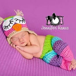 Crochet Baby Owl Hat Pants Diaper Cover Set Striped Rainbow Beanie Handmade Infant Newborn Baby Photography Photo Prop Baby Shower Gift - Red Lollipop Boutique