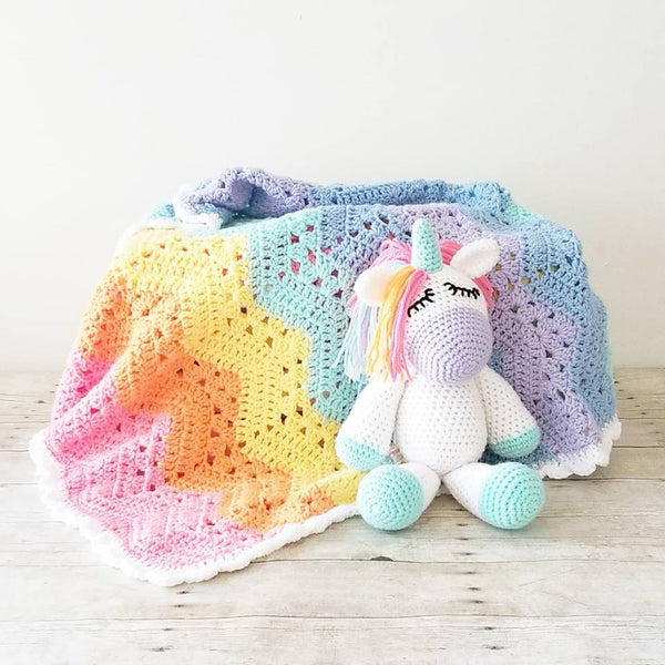 Crochet Sleepy Unicorn Doll Toy Infant Baby Toddler Stuffed Animal Imagination Magical Girl Nursery Room Decor Decorations Baby Shower Gift Present