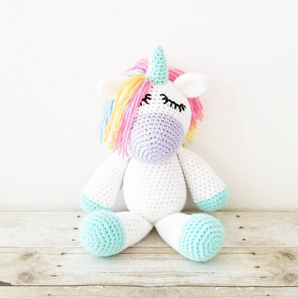 Crochet Baby Unicorn Blanket Set Striped Chevron Rainbow Infant Newborn Baby Toddler Nursery Decor Handmade Photography Prop Baby Shower Gift Present - Red Lollipop Boutique