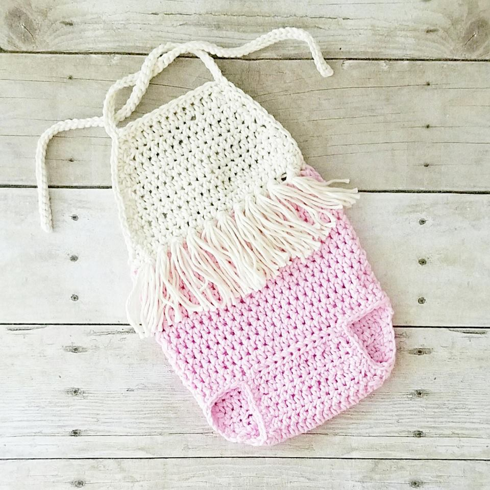 Crochet Baby Romper Onesie Boho Fringe Jumpsuit Infant Newborn Baby Toddler Handmade Photography Photo Prop Baby Shower Gift Present PDF Instant Download - Red Lollipop Boutique