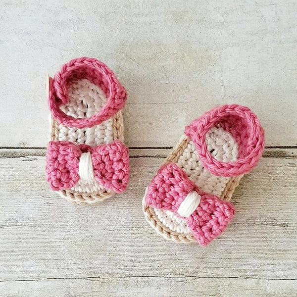 Crochet Baby Sandals Shoes Slippers Booties Bow Newborn Infant Footwear Spring Summer Clothing Accessory Handmade Gift - Red Lollipop Boutique
