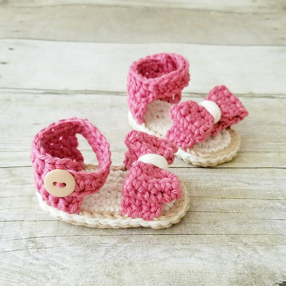Crochet Pattern Baby Bow Sandals Booties Slippers Shoes Infant