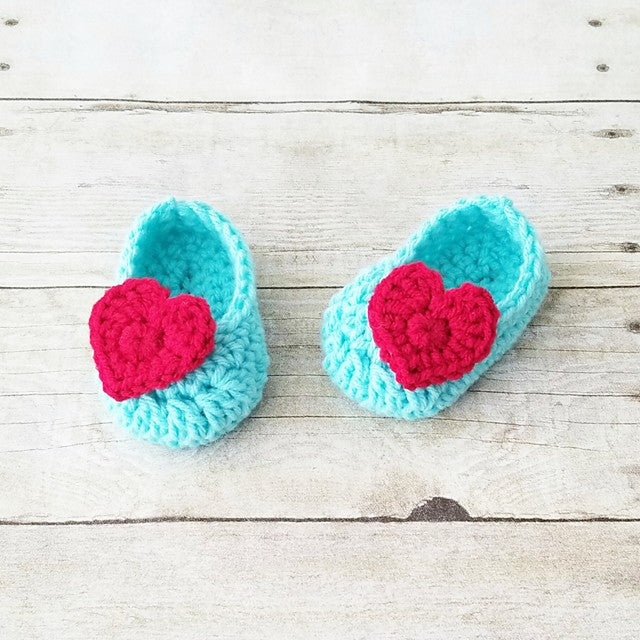 Crochet Baby Heart Shoes Slippers Booties Infant Newborn Baby Handmade Photography Photo Prop Baby Shower Gift Present Valentine's Day - Red Lollipop Boutique