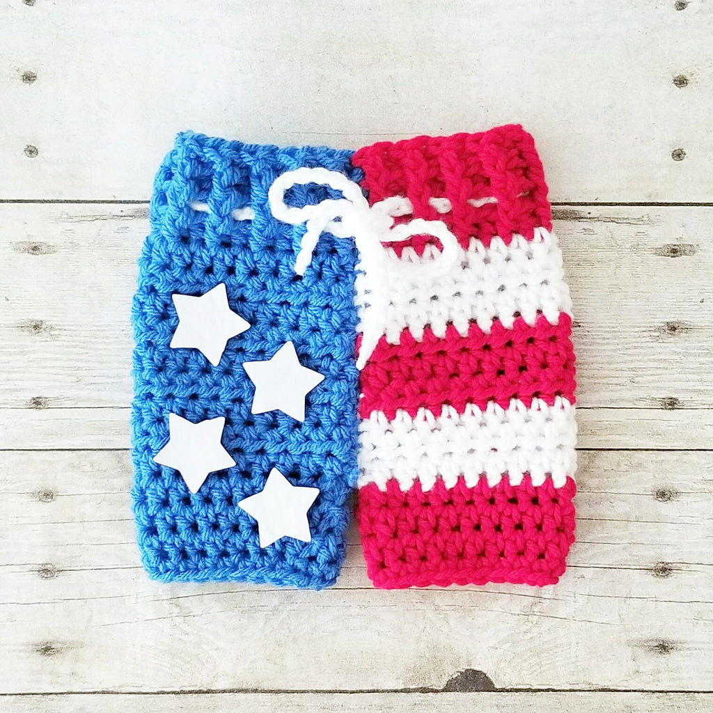 Crochet Baby 4th of July Shorts American Flag Stars and Stripes Swim Trunks Board Shorts Diaper Cover Infant Newborn Baby Photography Photo Prop Handmade Baby Shower Gift - Red Lollipop Boutique