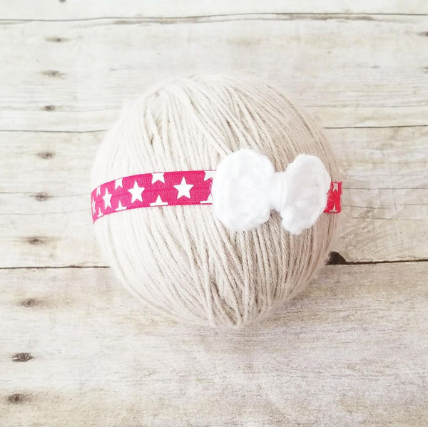 Baby 4th of July Headband Bow Nylon Red White Blue Stars One Newborn Baby Infant Toddler Child Photography Photo Prop - Red Lollipop Boutique