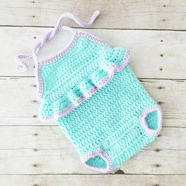Crochet Baby Romper Swimsuit Bathing Suit Jumpsuit Spring Summer Ruffles Infant Newborn Baby Photography Photo Prop Baby Shower Gift - Red Lollipop Boutique