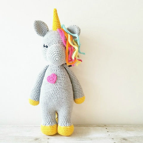 Crochet Unicorn Doll Toy Stuffed Animal Rainbow Handmade Toddler Girl Kid and Baby Nursery Room Decor