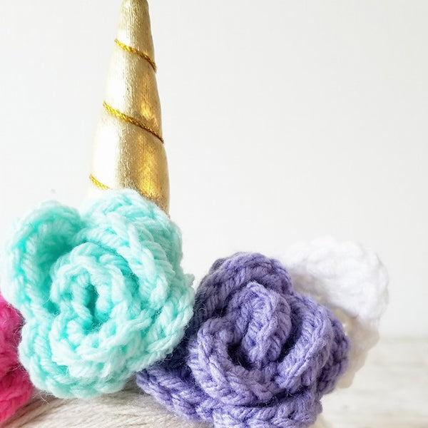 Crochet Baby Unicorn Bonnet Beanie Hat Flower Rosette Roses Shimmer Rainbow Infant Newborn Toddler Child Photography Photo Prop Shower Gift - Red Lollipop Boutique