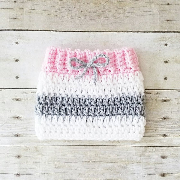 Crochet Baby Girl Valentine's Day Heart Beanie Hat Skirt Set Striped Stocking Cap Infant Newborn Baby Handmade Photography Photo Prop Baby Shower Gift - Red Lollipop Boutique