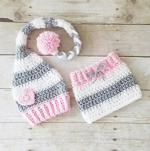Crochet Baby Girl Valentine's Day Heart Beanie Hat Skirt Set Striped Stocking Cap Infant Newborn Baby Handmade Photography Photo Prop Baby Shower Gift