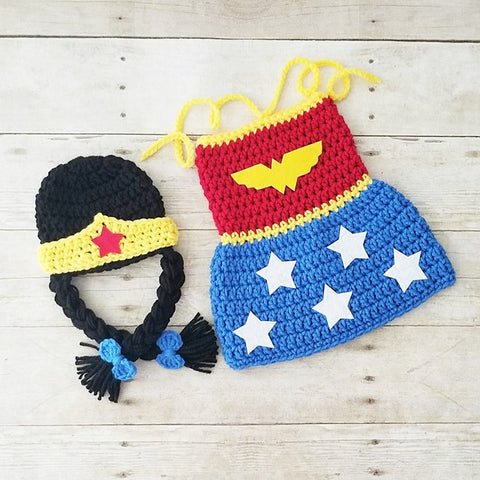 Crochet Baby Wonder Woman Costume Set Dress Hat Beanie Crown Handmade Baby Shower Gift Photography Prop