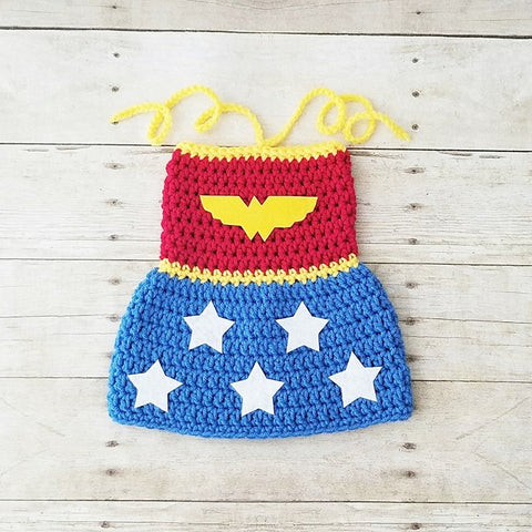 Crochet Baby Wonder Woman Costume Dress Handmade Baby Shower Gift Photography Prop - Red Lollipop Boutique