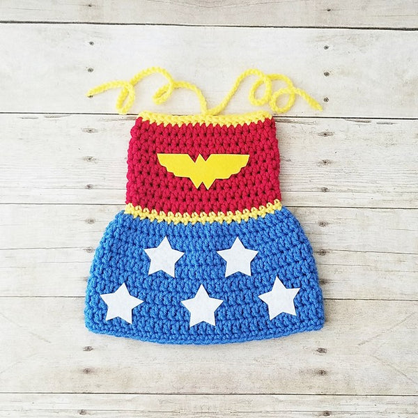 Crochet Baby Wonder Woman Costume Set Dress Hat Beanie Crown Handmade Baby Shower Gift Photography Prop - Red Lollipop Boutique