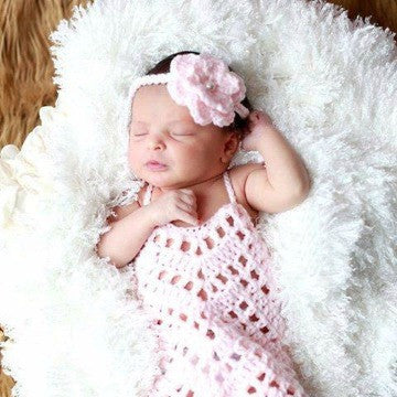 Crochet Baby Romper Onesie Flower Headband Set Newborn Infant Photography Photo Prop Baby Shower Gift - Red Lollipop Boutique