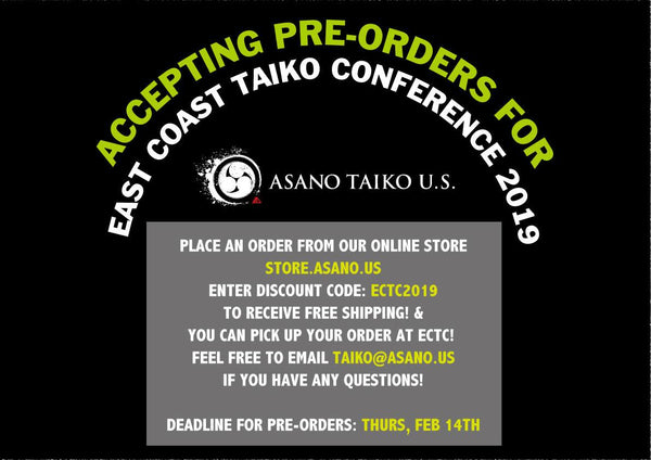 Asano Taiko U.S. is accepting pre-orders for ECTC!