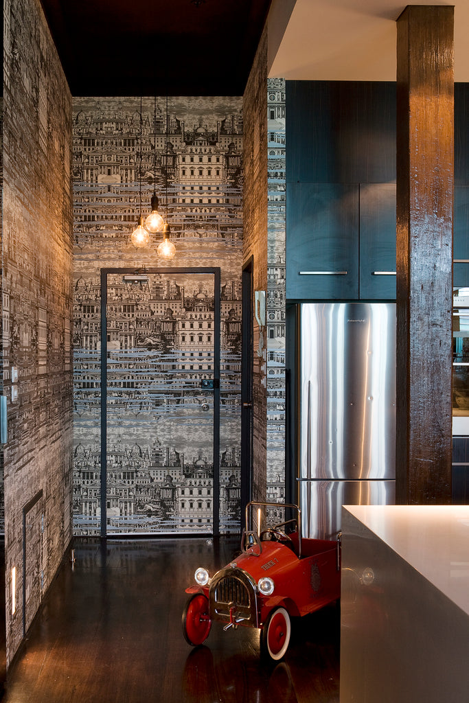 Kitchen with black and white wallpaper by Alexandra Kidd Design