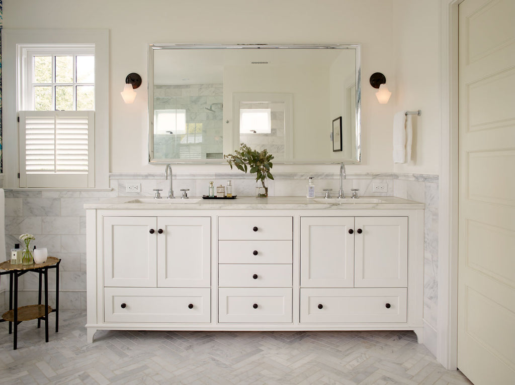 Bathroom white double vanity with Cumberland Sconces by Studio DUNN