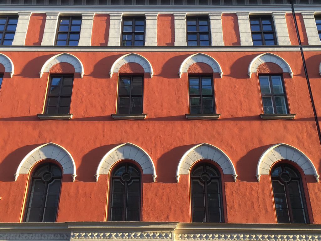 Red building facade in Oslo