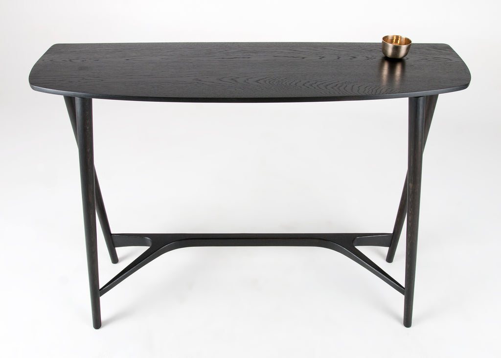 Top view of the Bristol Console Table in Seasoned Black by Studio DUNN with silver cup