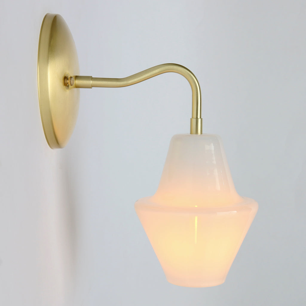 Hand blown glass sconce in White Opal glass with brass details