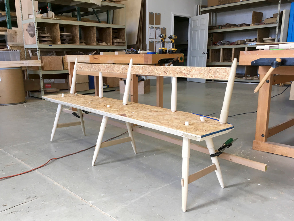 Rockport Bench in White Oak by Studio DUNN process shot is Mid-Century modern inspired