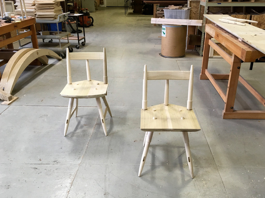 Two Rockport Chairs in white oak by DUNN in process at the studio
