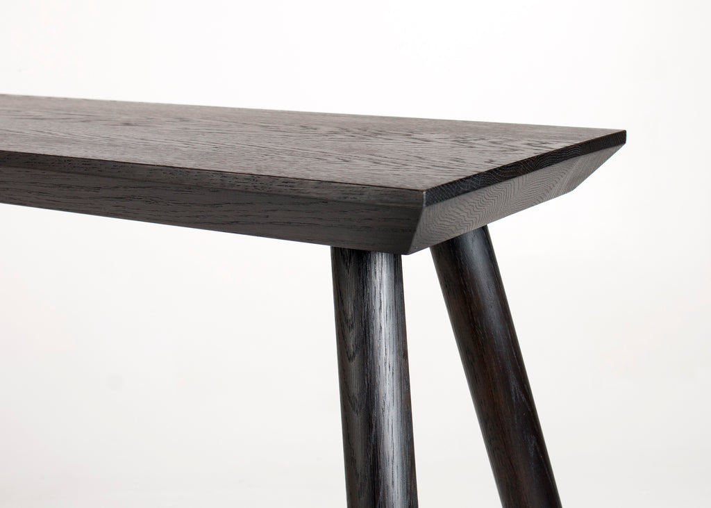 Detail shot of the Rockport Console Table in Seasoned Black by Studio DUNN