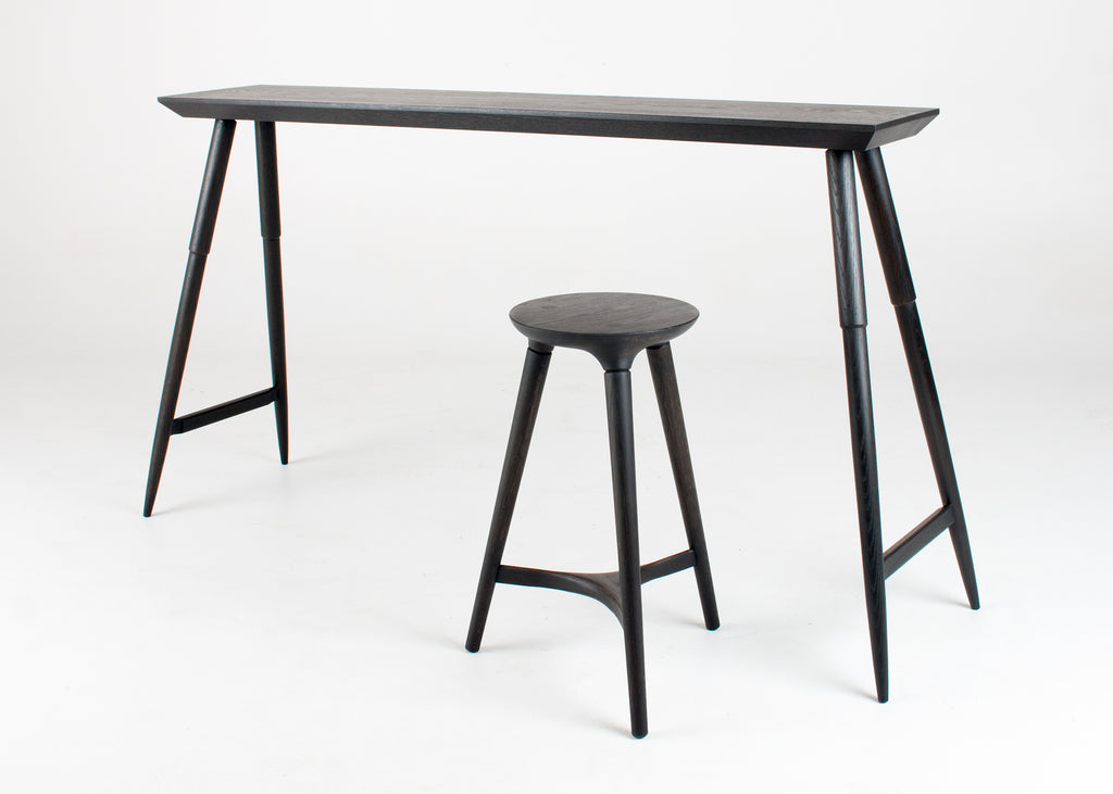 Rockport Console Table and Kingstown Counter Stool in Season Black by Studio DUNN