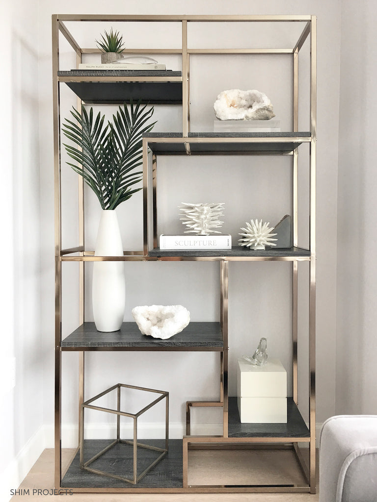 Shelf unit with plants, books, and white coral