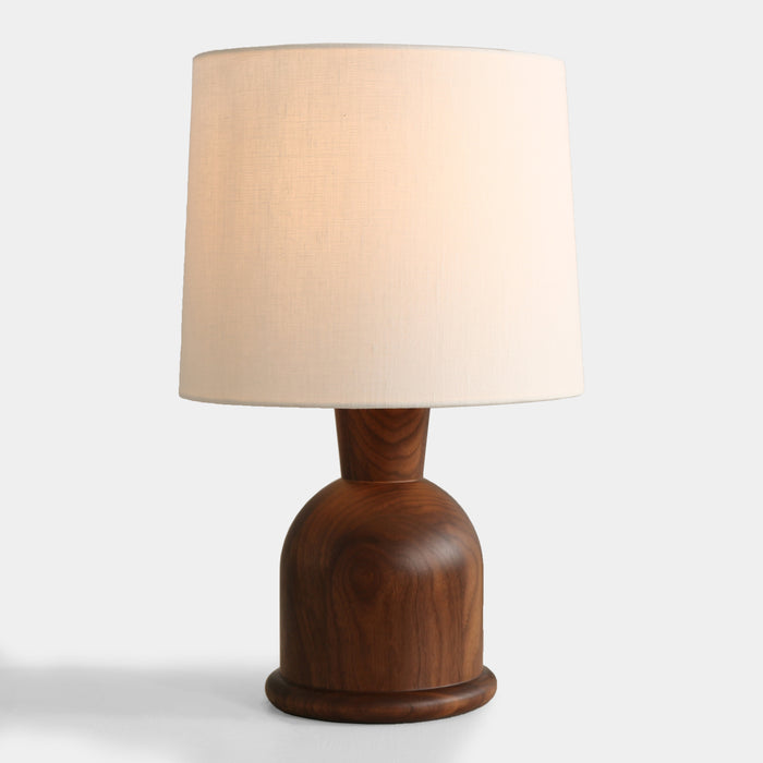 "Beacon 18"" table lamp by Studio DUNN features walnut hardwood and linen"