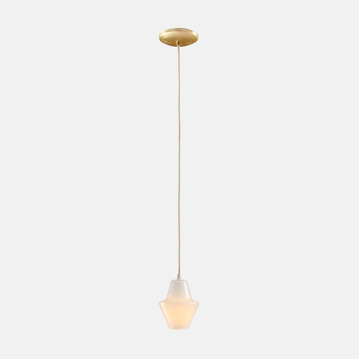 Cumberland Pendant in Opal White with Brass Details