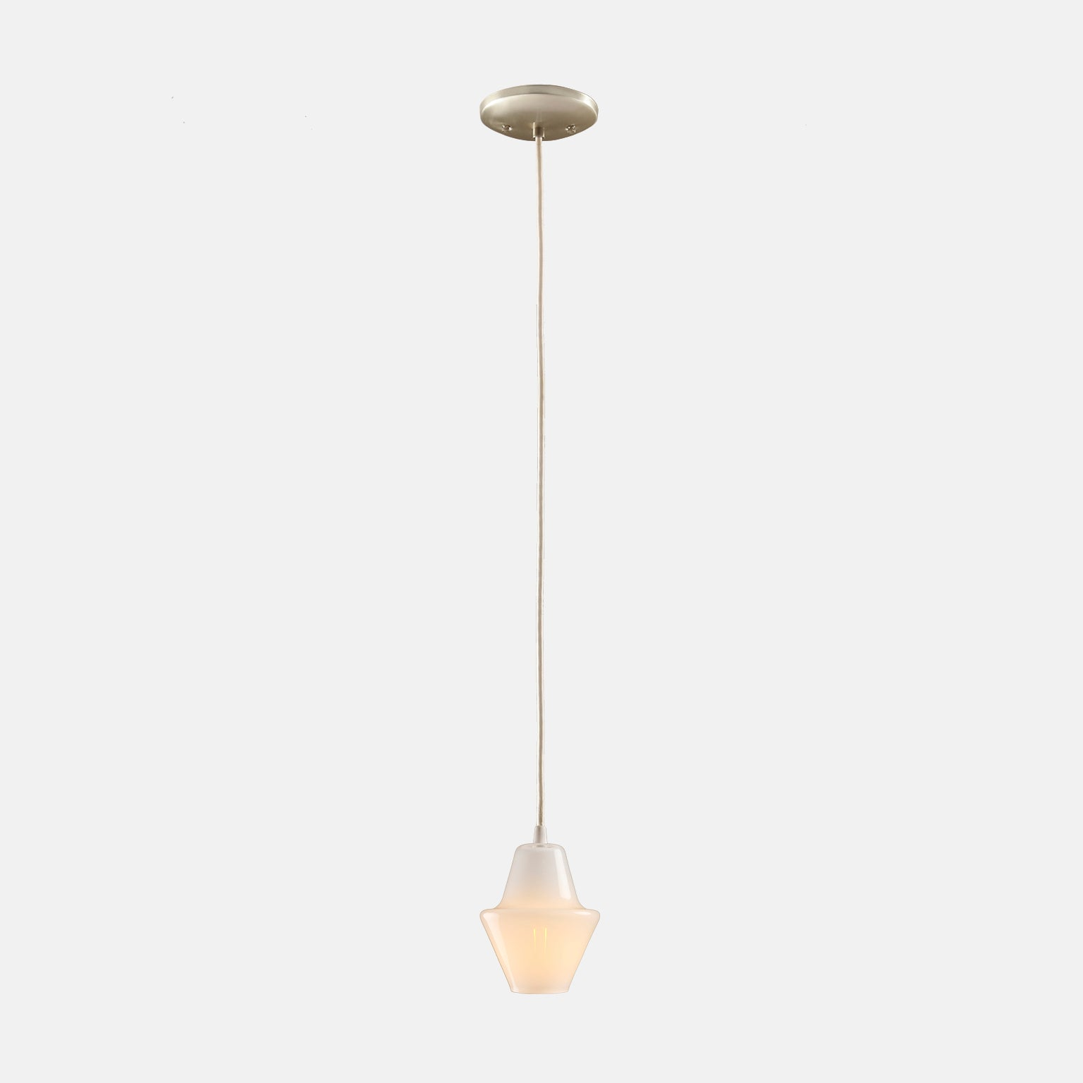 Cumberland Pendant in Opal White with Nickel Details