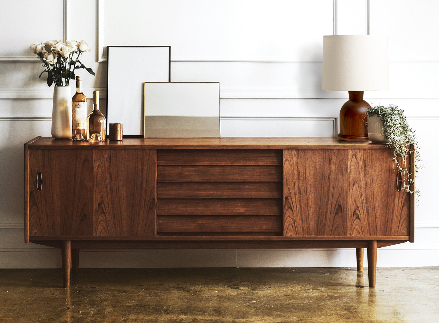 Modern Hardwood Credenza with Beacon Table Lamp by Studio DUNN in Walnut and Cream Linen