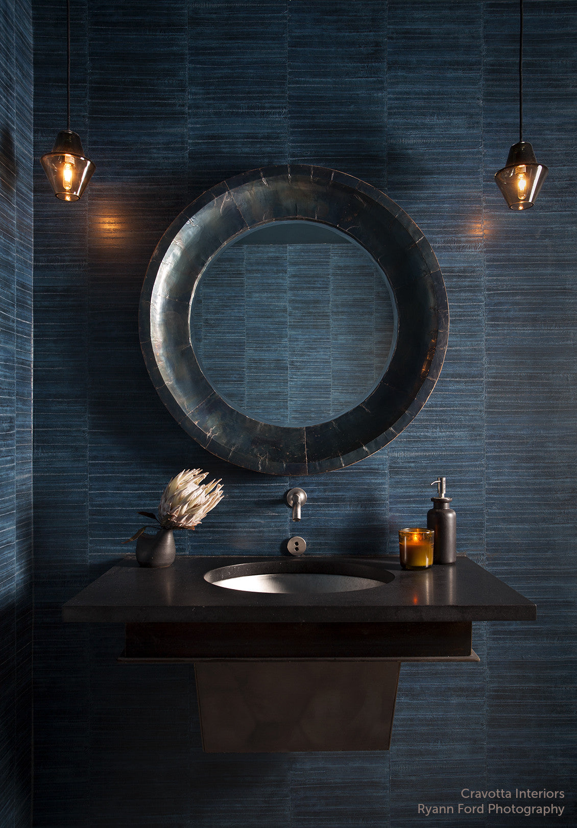 Cumberland pendant lights in Smoke Grey handblown glass in a bathroom designed by Cravotta and photographed by Ryann Ford.