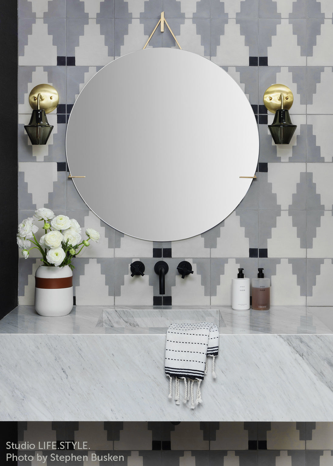 Bathroom vanity with Cumberland Sconces by Studio DUNN interior by Studio LIFE.STYLE. photo by Stephen Busken