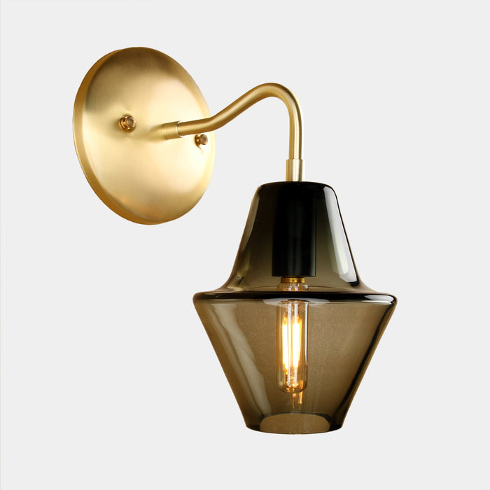 Cumberland Glass Wall Sconce in Smoke Grey Glass with Brass wall canopy and arm details