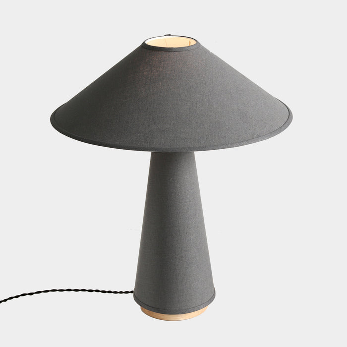 Linden Table Lamp in Charcoal Linen, Maple Base, and Brass Details