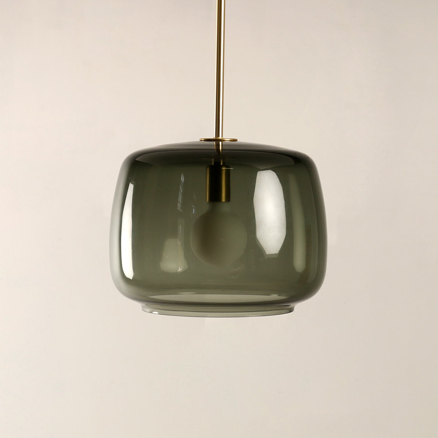 Radiata Pendant in Smoke Grey with Brass Details