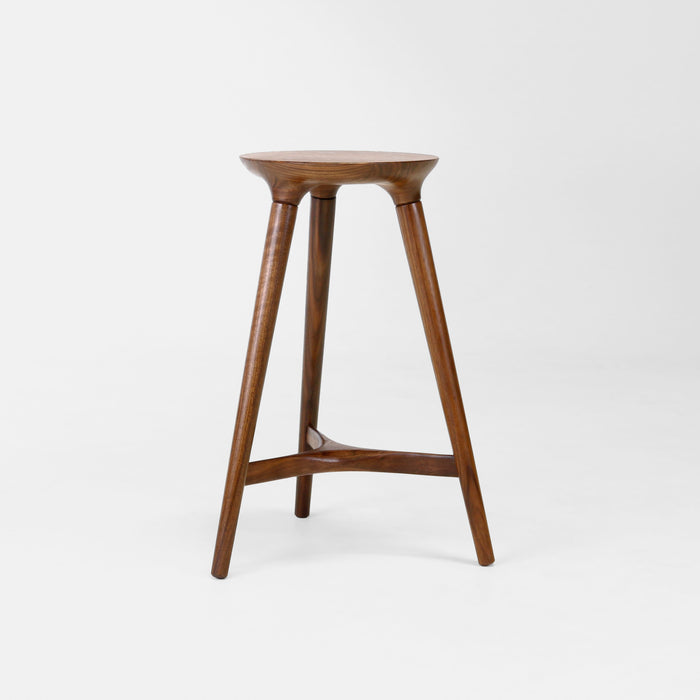 Kingstown 24 inch Counter Stool in Walnut by Studio DUNN made to order with Windsor joinery and stretcher