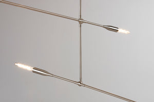 Sorenthia 2-Arm Light in Brushed Nickel Close Up View by Studio DUNN