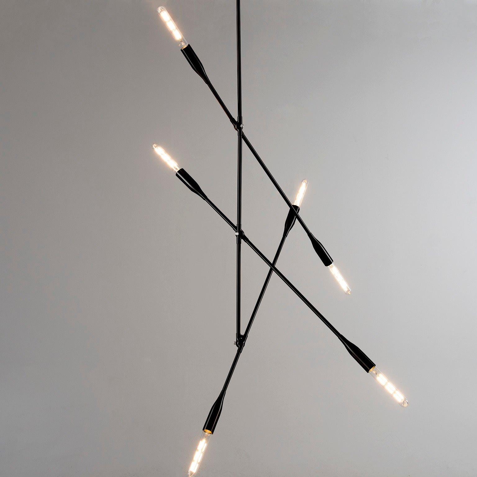 Sorenthia 3-Arm mid-century modern inspired light fixture in Black Poppy powder coat with Nickel Details by Studio DUNN