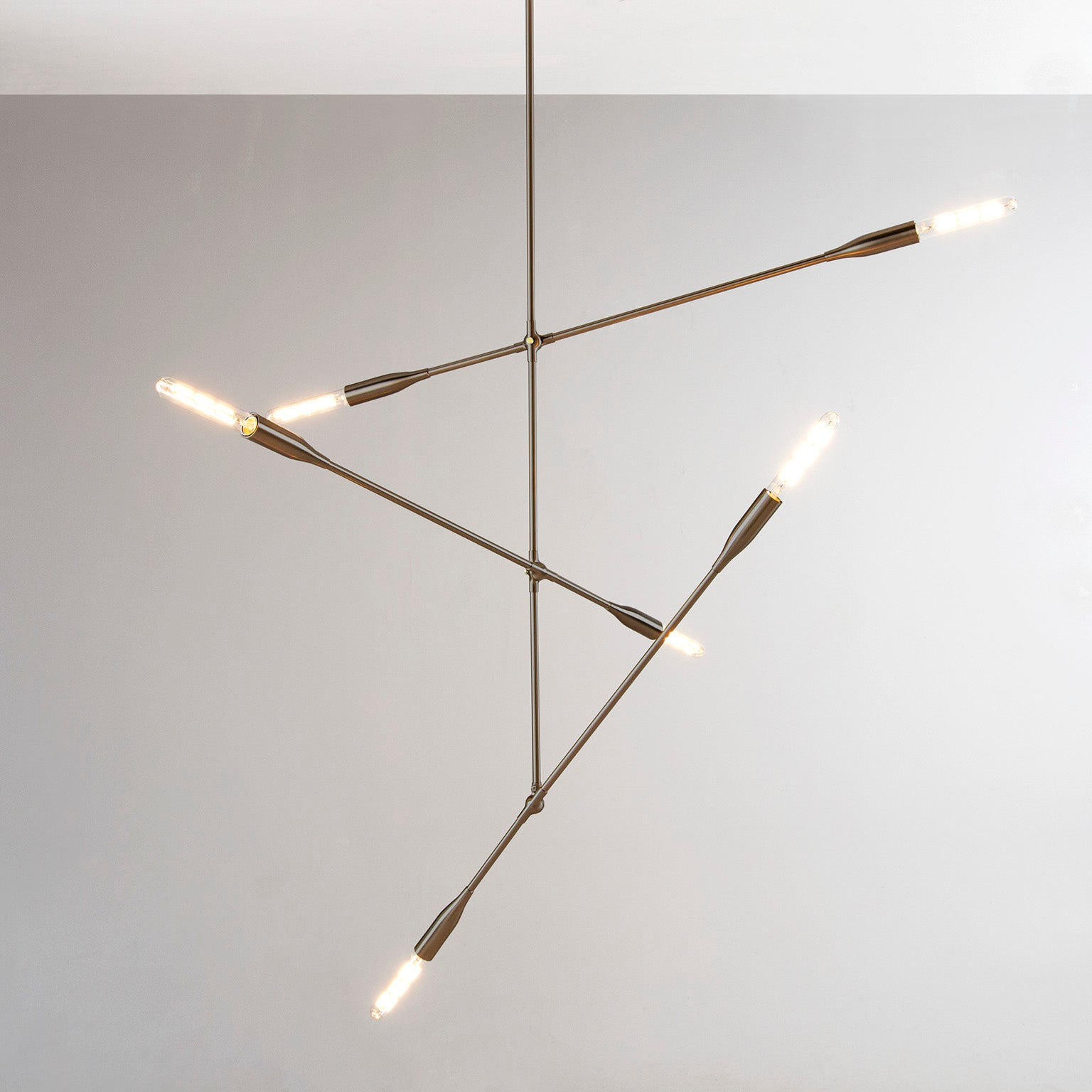 Sorenthia 3-Arm Contemporary Pendant Light Fixture in Oil Rubbed Brass by Studio DUNN